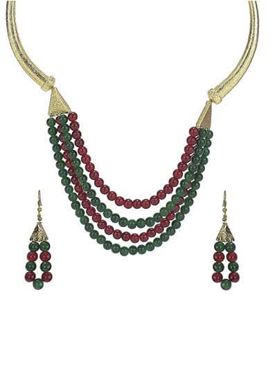 Red & Green Alluring Pearl Gold Plated Fashion Necklace Set