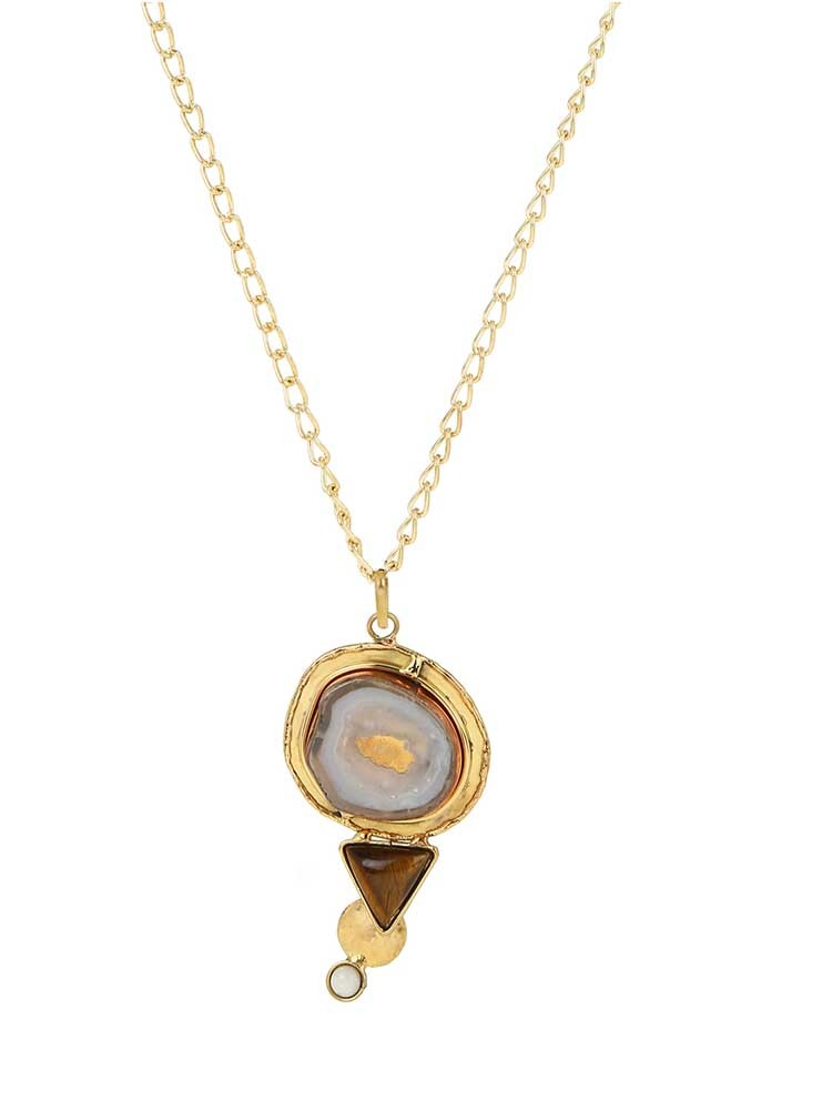 Tiger Eye Brass Pendant Chain Fashion Necklace