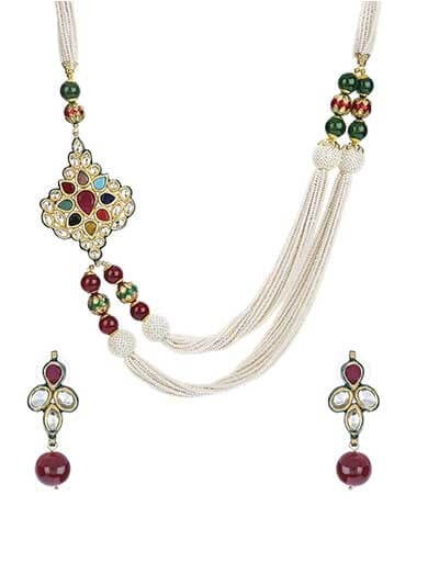 Kundan Pearl Gold Plated Fashion Necklace Set