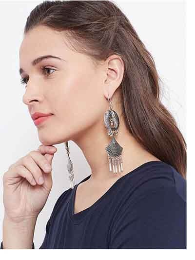 Fish Oxidized Silver Earrings For Women