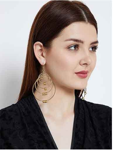 Multiple Gold Plated Layered Rings Designer Western Earrings