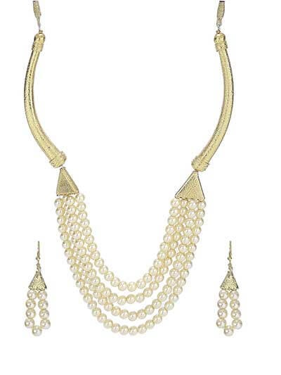 Pearl Suave Gold Plated Fashion Necklace Set