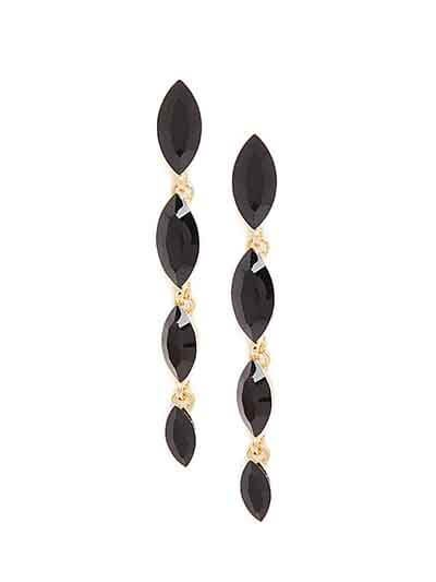 Golden and Black Stone Earrings
