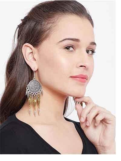 Silver Coins Oxidized Bali Earrings
