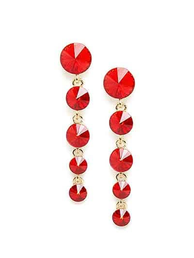 Red and Golden Stone Earrings