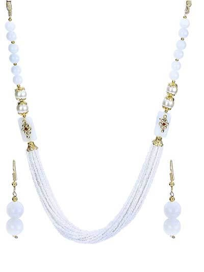 Pristine White Pearls Stone Gold Plated Fashion Necklace Set