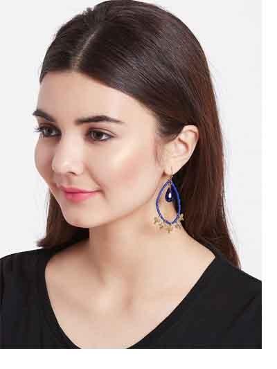Blue Beaded Hoop Earrings With Golden Hangings