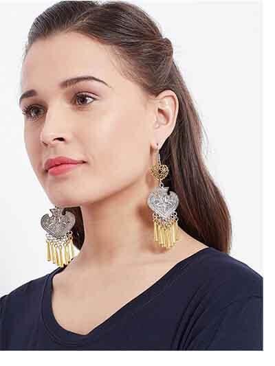 Dual Toned Oxidized Silver Jhumka Earrings