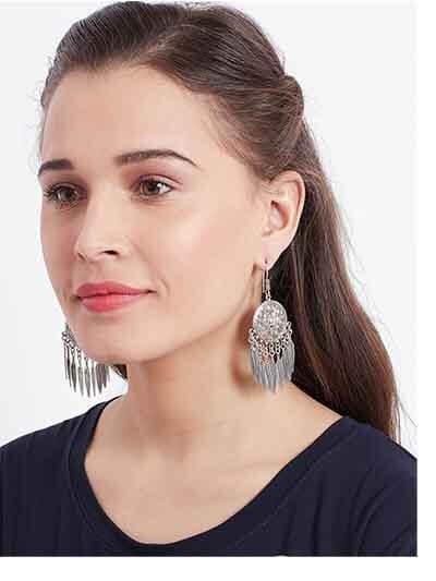 Leafy Circular Oxidized Silver Earrings