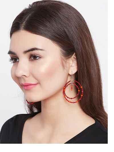 Beaded Red and Orange Layered Hoop Earrings