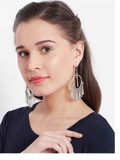 Circular Oxidized Silver Earrings
