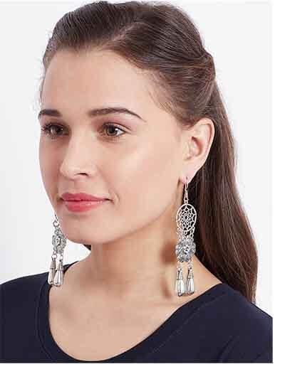 Floral Dream-catcher Oxidized Silver Earrings