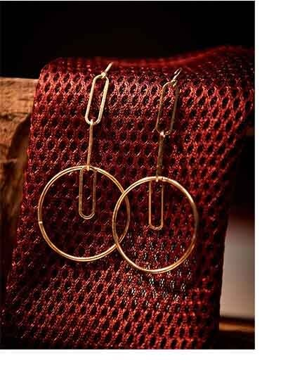 Gold Plated Brass Metal Delicate Hoops Western Earrings