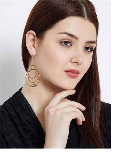 Multi Circular Layers Gold Plated Designer Hoops Western Earrings