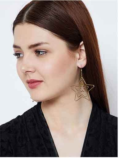 Triple Star Gold Plated Designer Western Earrings