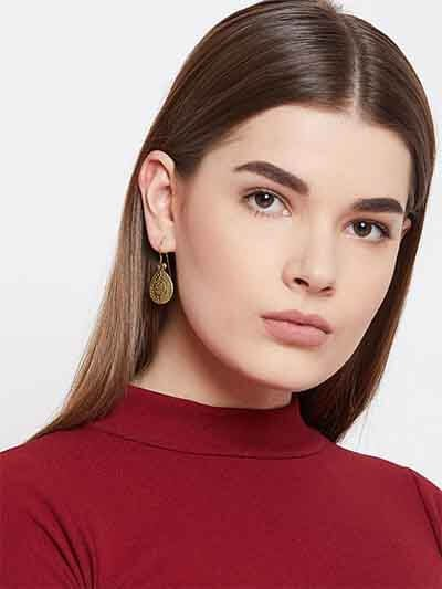 Patterned Drop Golden Earrings