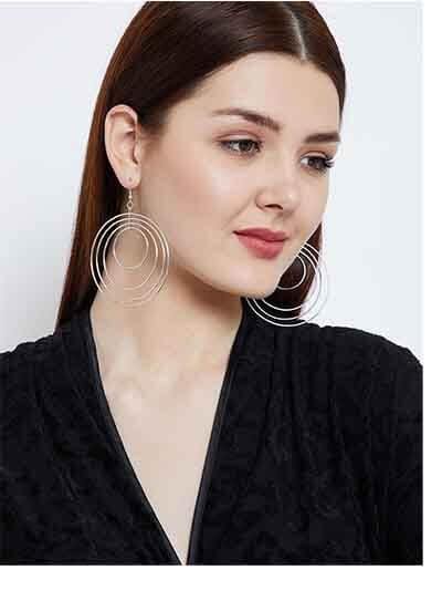 Multi Circular Swirled Silver Plated Designer Western Earrings