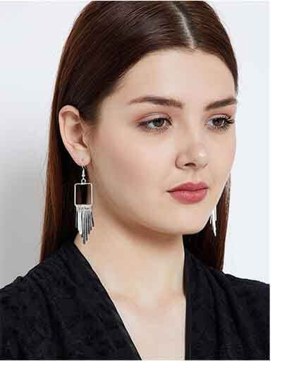 Brass Metal silver Plated Delicate Designer Western Earrings
