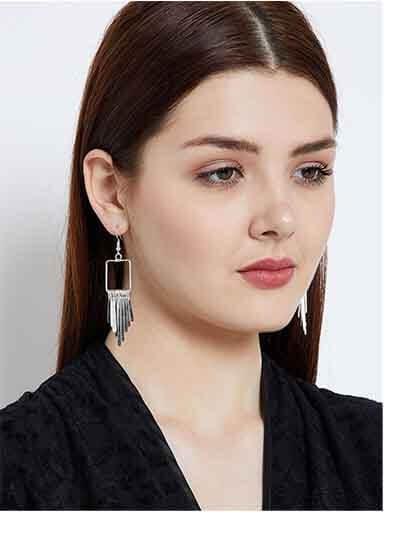 Brass Metal silver Plated Delicate Designer Western Earrings