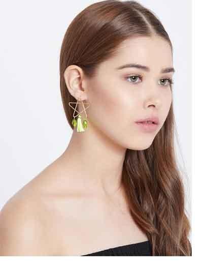 Green and Golden Western Handmade Earrings