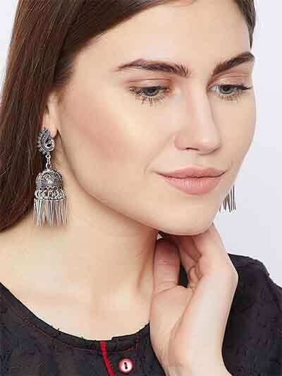 Oxidized Silver Peacock Earrings For Women