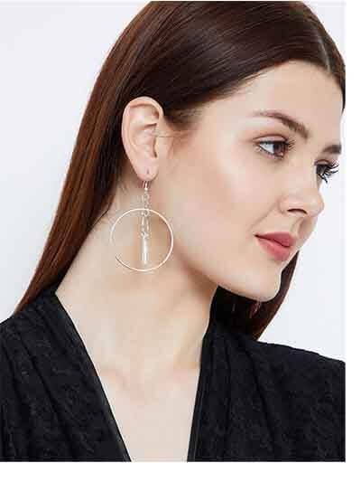 Circular Keychain Silver Plated Designer Western Earrings