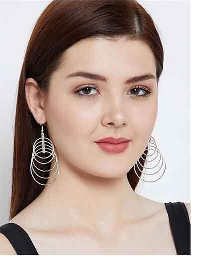 Delicate Multi-level Silver Plated Hoops Designer Western Earrings