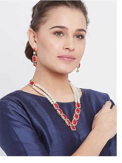 Long Pearl Necklace Set with Beautiful Red Square Stones