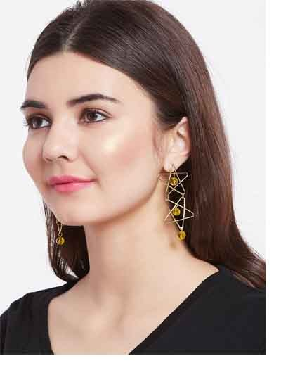 Golden Star Earrings With Yellow Beads