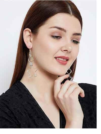 Multi-levelled Multiple Silver Plated Hoops and Stars and Hoops Western Earrings