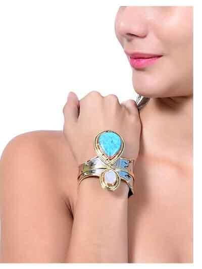 White Druzy Turquoise Handmade Jewellery Statement Cuff Bracelet