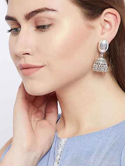 Oval Tribal Jewellery Short Jhumkis With Hanging Silver Bells