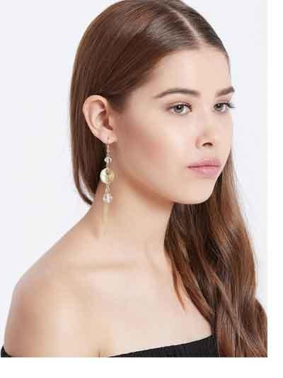 Golden Chain Western Handmade Earrings With Grey Beads