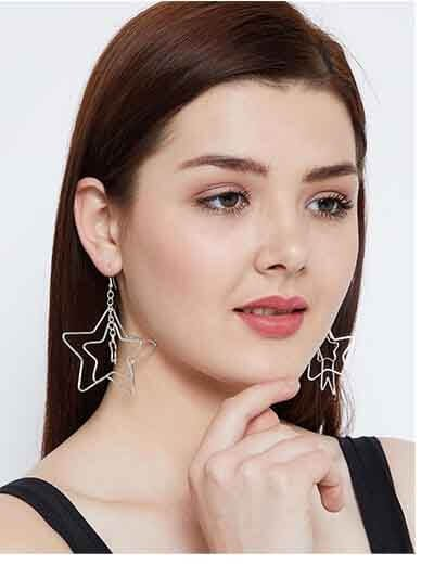 Multi Star Level Silver Plated Designer Western Earrings