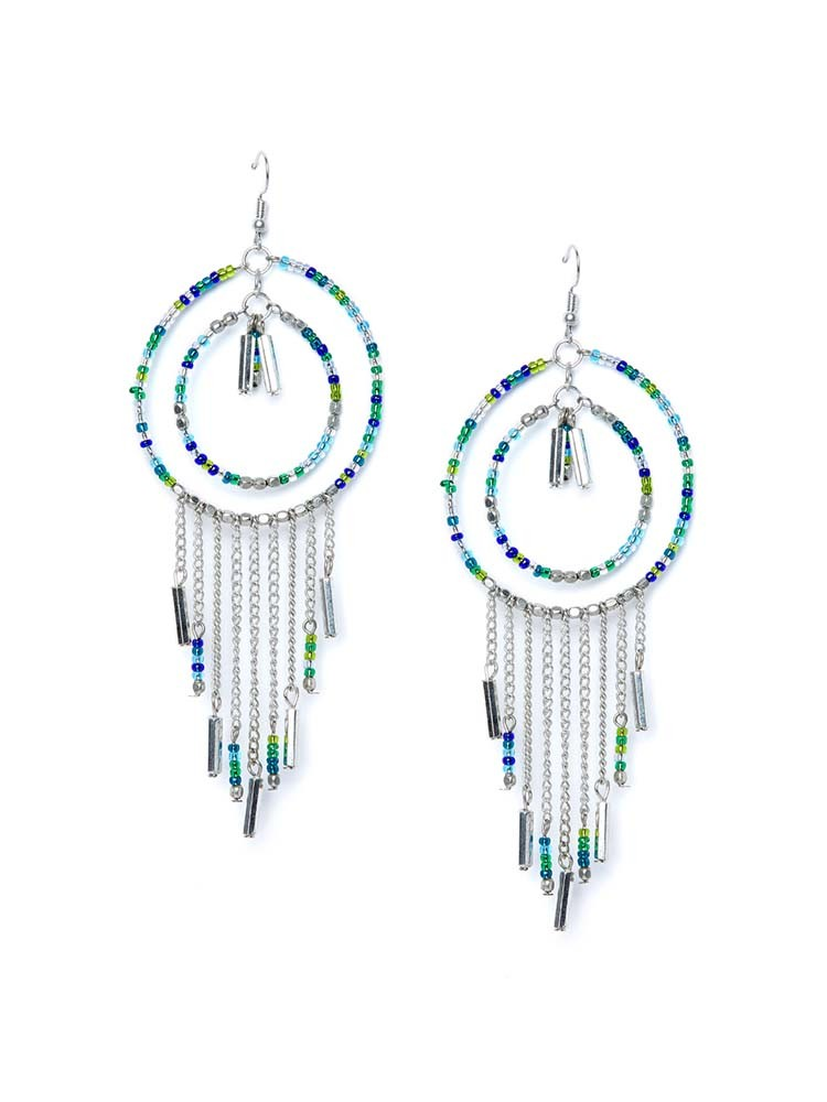 Funky Multicolored Beads and Silver Chains Western Earrings with Beaded Bali
