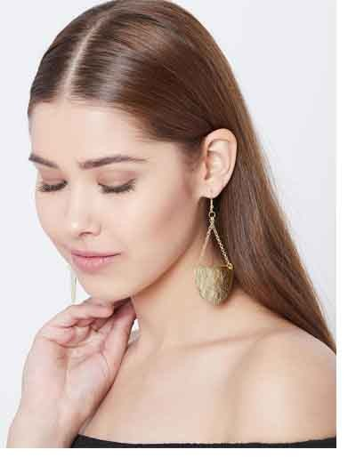 Golden Disc Western Handmade Earrings