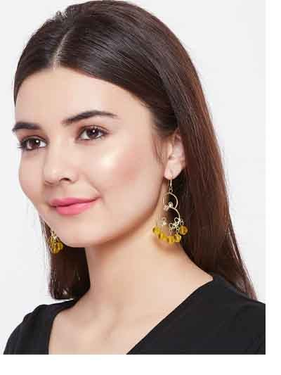 Floral Golden Western Handmade Earrings With Hanging Beads