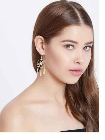 Golden Western Handmade Earrings With Pretty Hangings