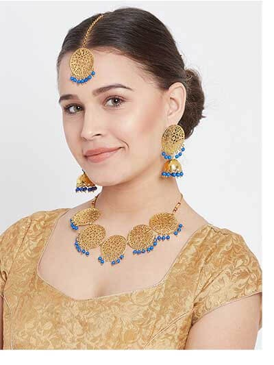Floral Motifs Handmade Necklace Set With Blue Hanging Pearls