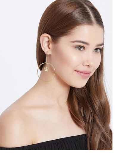 Golden Hoop Earrings With Hanging Butterflies