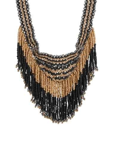 Alloy Metal Noir Gold Fringes Fashion Necklace for Women