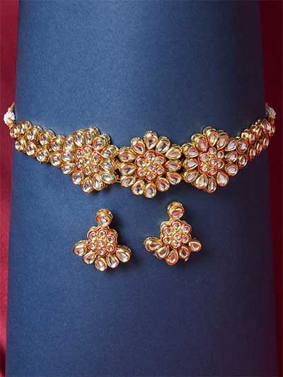 Gold Plated Kundan Studded Choker Necklace Set