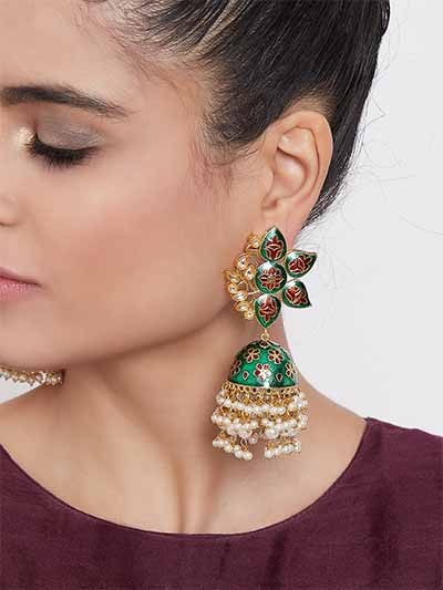 Gold-Toned Green Kundan Studded Meenakari Brass Jhumkas