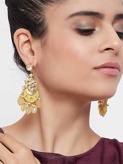 Gold-Toned Yellow Kundan & Meena Studded Brass Dangle Earrings