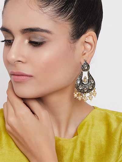 Black and Red Kundan Studded Brass Enamel Earrings