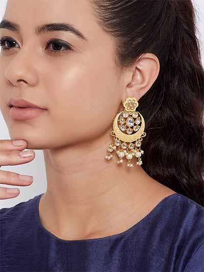 Gold-Toned Peach Kundan Studded Meenakari Brass Earrings
