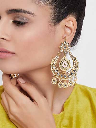 Golden and Pink Kundan Studded Brass Dangle Earrings