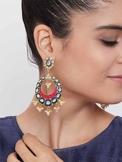 Blue and Pink Kundan Studded Brass Enamel Earrings