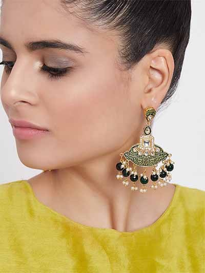 Gold-Toned Green Meenakari Brass Dangle Earrings