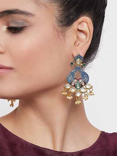 Gold-Toned Blue Kundan and Meena Studded Brass Dangle Earrings